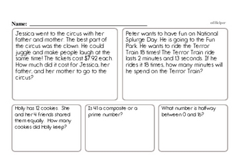 Fourth Grade Word Problems Book