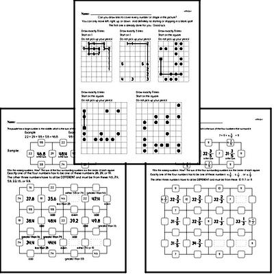 Math Puzzle Worksheets for Fourth Graders - Large Workbook of Math Puzzle Worksheets