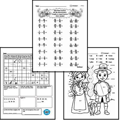Fourth Grade Thanksgiving Math Challenge Workbook