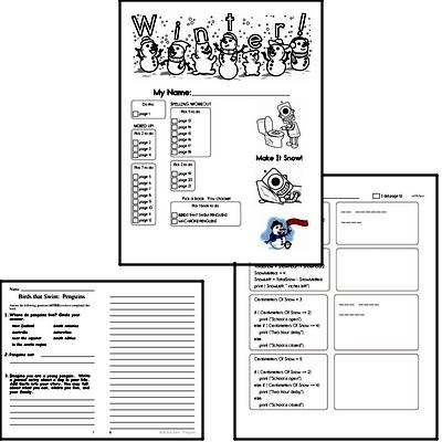 Fourth Grade Winter Activity No Prep Workbook Worksheets