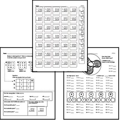 Addition - Two-Digit Addition Mixed Math PDF Workbook for Fifth Graders