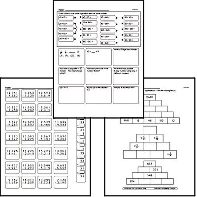 Addition Mixed Math PDF Workbook for Fifth Graders