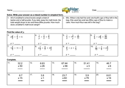 4th Quarter Math Assessment for Fifth Grade - Few Mixed Review Math Problem Pages