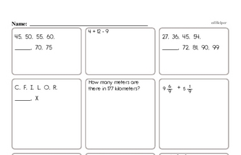 Start of the Year Fifth Grade Math Assessments