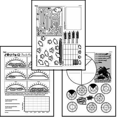 Data - Collecting and Organizing Data Mixed Math PDF Workbook for Fifth Graders