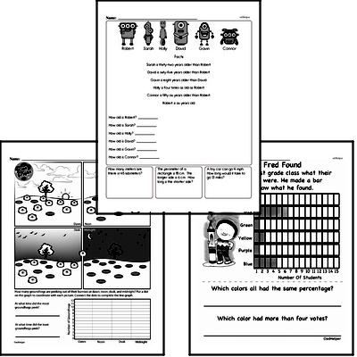 Data - Data Word Problems Mixed Math PDF Workbook for Fifth Graders