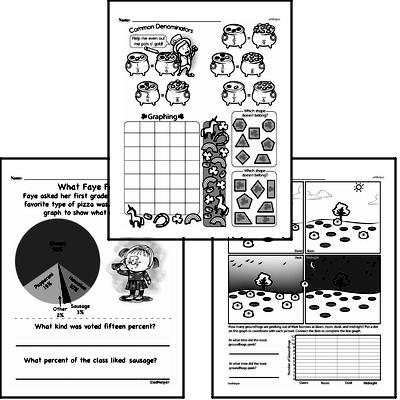 Data Mixed Math PDF Workbook for Fifth Graders