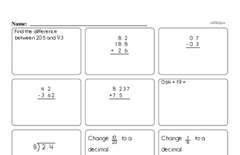 Decimal Mad Minute Pages - Addition, Subtraction, Multiplication, and Division