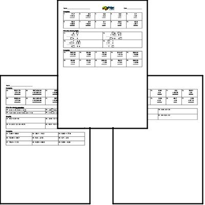 Decimals Mixed Math PDF Workbook for Fifth Graders