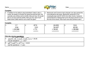 Decimals Workbook (all teacher worksheets - large PDF)