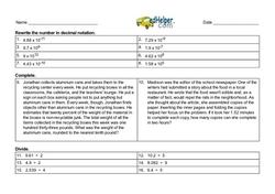 Prealgebra Decimals Challenge