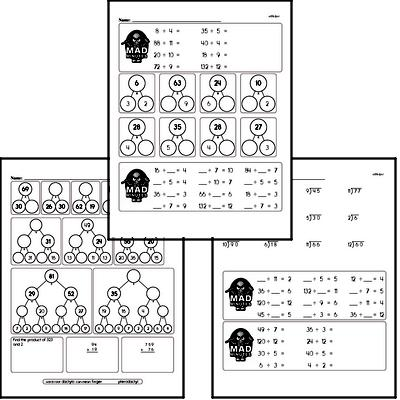 Division Facts Mad Minute Worksheets (divide by 2 to 12)