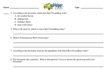 Fifth Grade Groundhog Day Worksheets Activity Book
