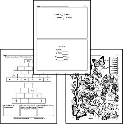 Fractions Mixed Math PDF Workbook for Fifth Graders