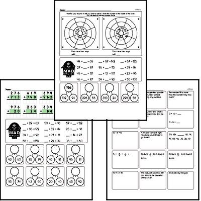 Addition Mad Minute Timed Addition Math Drill Pages for Fifth Graders