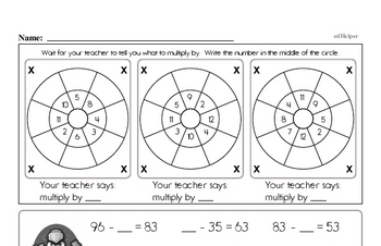 Addition, Subtraction, Multiplication, and Division Mad Minute Timed Addition Math Drill Pages for Fifth Graders