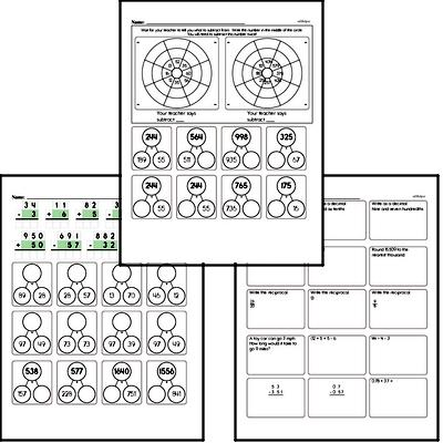 Addition, Subtraction, and Multiplication Mad Minute Timed Addition Math Drill Pages for Fifth Graders