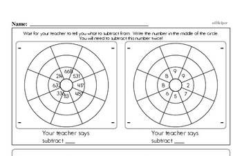 Addition and Subtraction Mad Minute Timed Addition Math Drill Pages for Fifth Graders