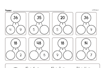 Division Mad Minute Timed Addition Math Drill Pages for Fifth Graders