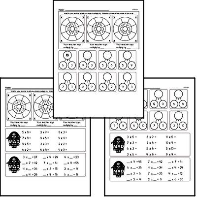 Multiplication Mad Minute Timed Addition Math Drill Pages for Fifth Graders