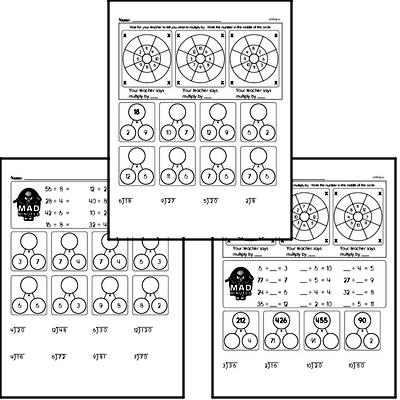 Multiplication and Division Mad Minute Timed Addition Math Drill Pages for Fifth Graders