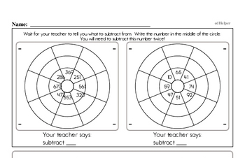 Subtraction Mad Minute Timed Addition Math Drill Pages for Fifth Graders