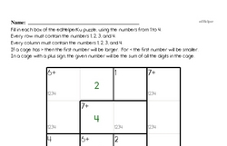 Greater/Less than with Addition Math Logic Puzzle