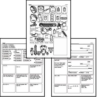 Measurement Mixed Math PDF Workbook for Fifth Graders