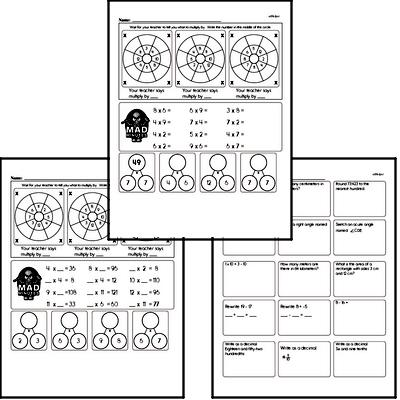 Multiplication Facts Mad Minute Worksheets (multiply 2 digits by 1 digit, and 1 digit by 1 digit)