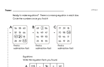 Subtraction Math Fact Challenge Puzzles