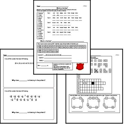 June Fun Packets - Small 5-7 Page Worksheets<BR>Use for homework, in the classroom, or for fast finishers.