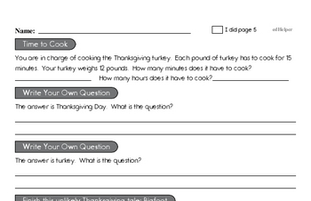 Fifth Grade Thanksgiving Activity Workbook