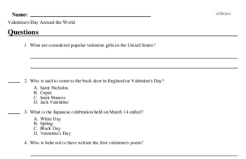 Fifth Grade Valentine's Day Reading Comprehension Workbook with Math Worksheets