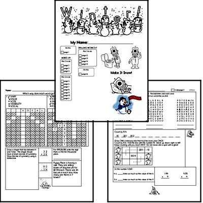 Fifth Grade Winter Activity No Prep Workbook Worksheets