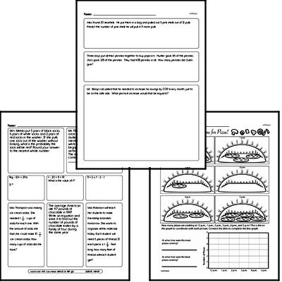 Data - Collecting and Organizing Data Mixed Math PDF Workbook for Sixth Graders