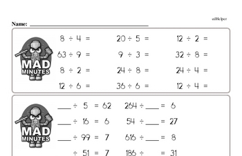 Division Facts Mad Minute Worksheets (divide by one or two digits)