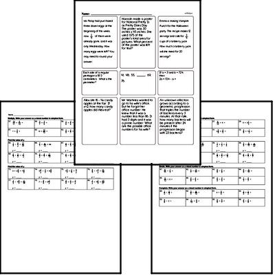 Fractions - Multiplying Fractions Mixed Math PDF Workbook for Sixth Graders