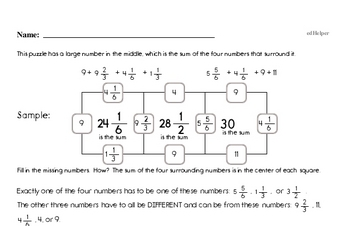 Fractions Mixed Math PDF Workbook for Sixth Graders