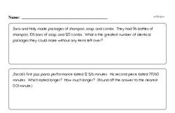 Free Fraction PDF Math Worksheets Worksheet #141