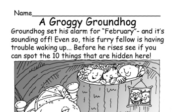 A Groggy Groundhog Hidden Pictures Worksheet Book - Kids love these.