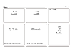 Whole Number Math Facts Practice Page