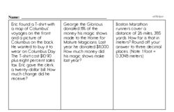 Sixth Grade Subtraction Worksheets Worksheet #1