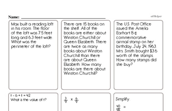 Sixth Grade Word Problems Challenge Book