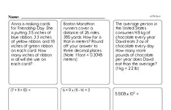 Free Sixth Grade PDF Math Worksheets | edHelper com
