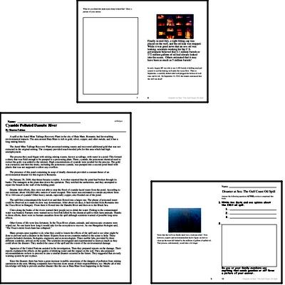 6th grade: Earth Day Reading Comprehension Workbook with Math