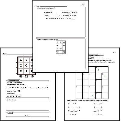Math Puzzle Worksheets for Sixth Graders - Large Workbook of Math Puzzle Worksheets