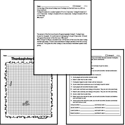 Sixth Grade Thanksgiving Math Challenge Workbook