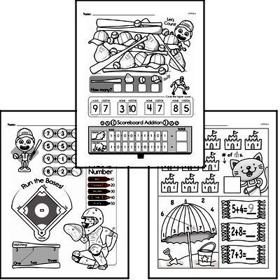 Addition - Addition within 10 Mixed Math PDF Workbook for Kindergarten
