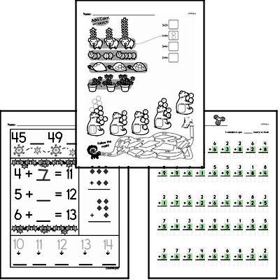 Addition - Addition within 20 Mixed Math PDF Workbook for Kindergarten