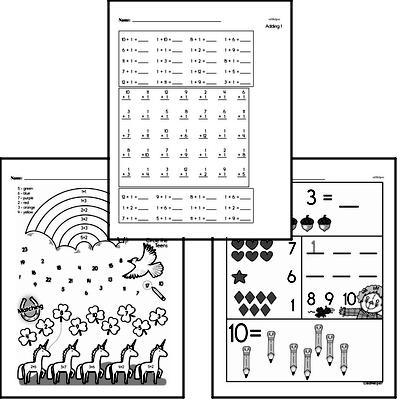 Addition Mixed Math PDF Workbook for Kindergarten